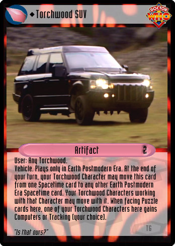 Unauthorized Dr. Who CCG - Artifact: Torchwood SUV